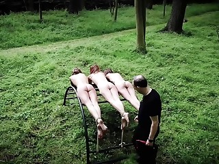 Three teen slaves punishment and humiliated in rough bdsm