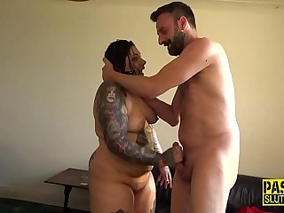 Fat tattooed sub gagged
