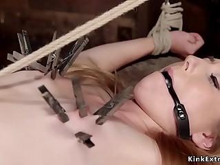 Hogtied blonde slave spanked in dungeon