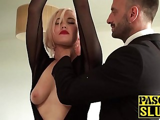 Hardfucked curvy babe toys her pussy on maledoms wish