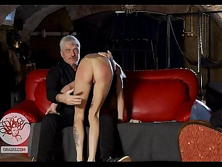 Hard spanking for skinny bitch