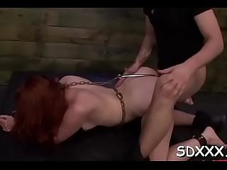 Delightful woman shows engulfing skills
