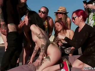 Squirter group disgraced on roof top