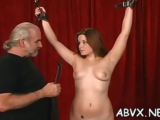 Stupefying girlfriend is playing with her nice tits