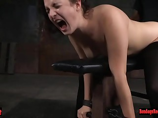 Babe is tied down and pussy rammed