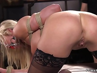 Captured busty blonde fucked