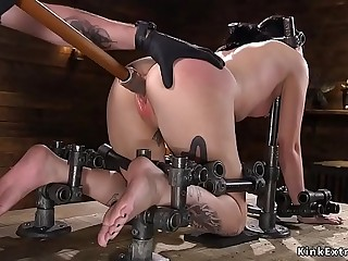 Blindfolded and chained have seats gets caned