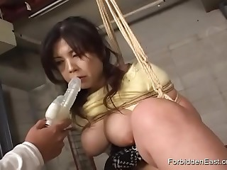Asian Submissive Suspended Tied like a hog And Vibed To Capturing
