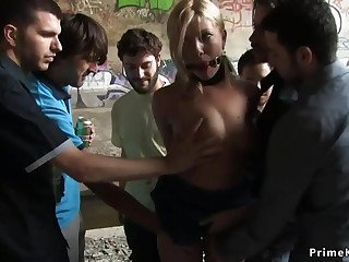Handcuffed blonde anal fucked in public bus