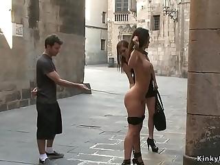 Nude bound hottie public disgraced