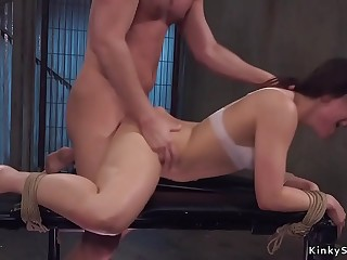 Master rough anal smashes slave Kimber Woods