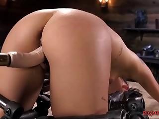 Cute babe with small hooters enjoying bondage sex
