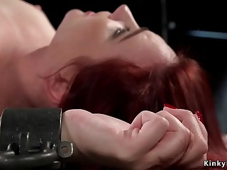 Blindfolded redhead ass paddled bdsm