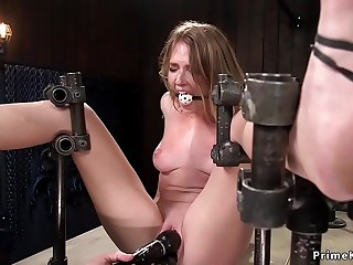 Blond ass hooked in device bondage