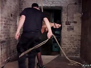 Brunette sweetheart fuck in gonzo bondage