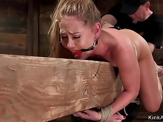 Blonde in stockings pounded in hogtie bondage