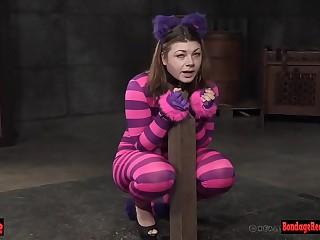 Restrain bondage babe is dangled up for pussy toying