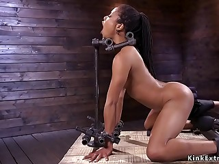 Ebony sub electro shocked and played