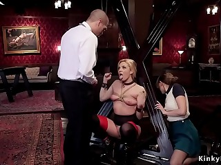 Blonde sub dp ffm three way fucked