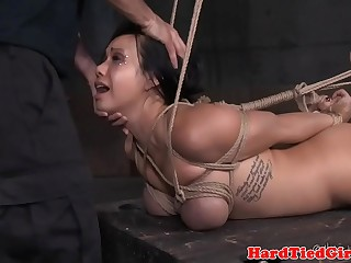 Blindfolded sub is throat fucked hard