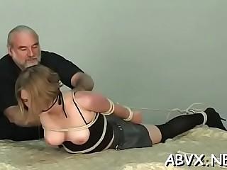 Alone dishy maid rubbing her clitoris