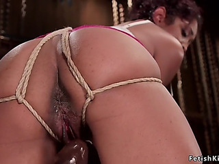 Bent over swarthy in slavery toyed