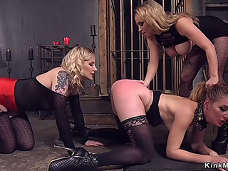 GoldenHaired butt whipped in trio lezdom