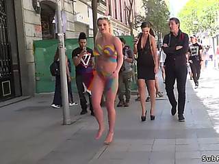 Ginormous scoops blond body painted in public