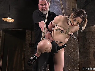 Tied like a hog hottie drilled with pecker on a stick