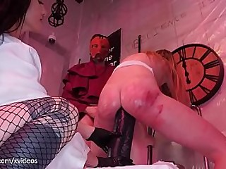 Blonde PAWG gets her pucker destroyed in a sadistic gangbang by brutal femdoms (extreme anal punishment and ass to mouth)