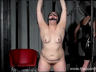 Amateur bdsm submissive in restraints and domination of lesbian femdom slave Isabel Dean