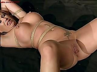 Huge labia, clit piercing, big boobs and former boyfriend restrain bondage sex.