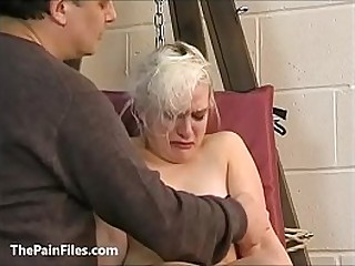 Tongues blonde slave Chaos tit tormented to tears and whipped in bondage on the pun