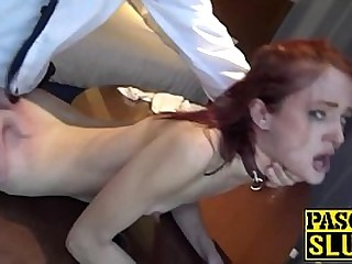 Skinny redhead eating cum and domination