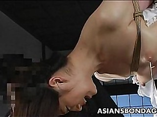 Lovely Japanese cutie gets bound, dangled and tormented