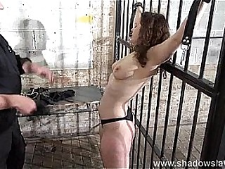 Lashed tits and rock-hard spanking of enslaved Beauvoir in restrain bondage and severe bdsm