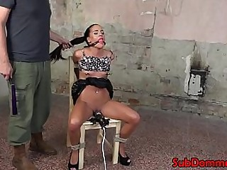 BDSM gimp tied to chair for pussy toying
