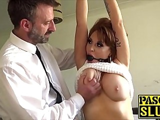 Redhead cocksucker penetrated by maledom