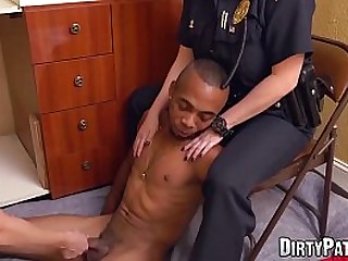 Female domination police officers fuck dark-hued suspect