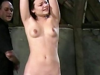 Youthful slave woman Pixie tied and whipped to tears in harsh small tit spanking