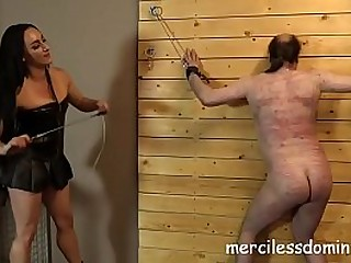 Dominatrix Chloes Slave Whipped - Probing Different Devices on Guy's Body