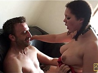 Squirting UK whore pussy slammed by maledom
