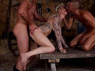 Dominant dudes spank, fuck, choke & double penetrate Mila Milan with latex mask