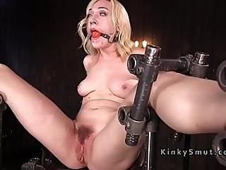 Blonde in extreme bondage flogged and fucked