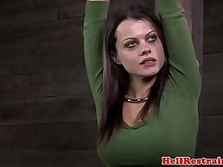 Restrained slave punished with breastbondage