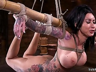 Huge tits dickblowers alt slave Lily Lane in extraordinary bondage gets nipples whipped then in backbend suspension by bamboo left to hanging in dungeon space