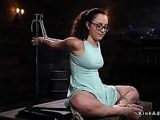 Brunette gimp Roxanne Rae suffers extraordinary hog-tie bondage with cunt hook