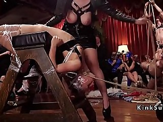 Upper florr finale with extreme bondage sex