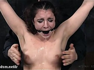 Sweet slave gets her pussy lips clamped and love button stimulated by a hitachi