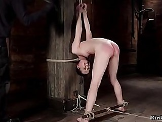 Small tits and pliable brunette slave Kasey Warner in extreme rope restrain bondage roped up to wooden beam with ball gag gets hairy pussy vibrated then ass flogged